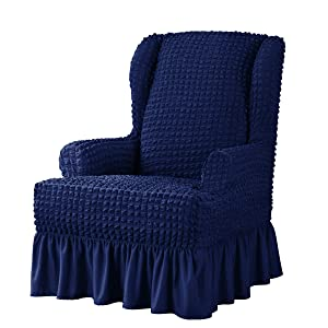 Stretch Wing Chair Cover Skirt Style Wingback Slipcover 1 Piece Seersucker Armchair Protector with Ruffle Skirt Country Style Durable Furniture Cover (Wing Chair, Navy)