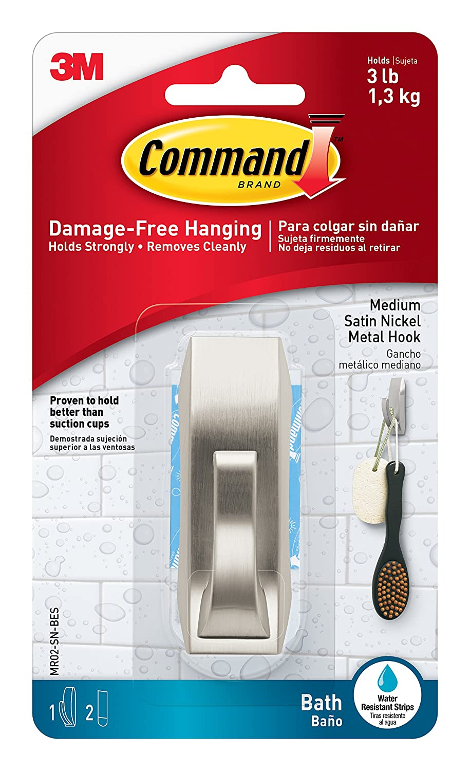 Command Modern Reflections Metal Bath Hook, Large, Satin Nickel, 1-Hook with Water-Resistant Strips (MR03-SN-BES) 3M Command