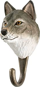 WILDLIFEGARDEN Hand-Carved Grey Wolf Hook, Sturdy Indoor/Outdoor Wood Wall Hook with Artisanal Life-Like Figurine, Easy-to-Install, Designed in Sweden