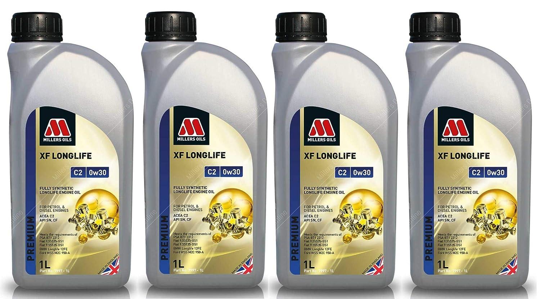 Millers Oils XF Longlife 0w30 C2 SN Aceite de Motor Totalmente sintético, 4 litros: Amazon.es: Coche y moto