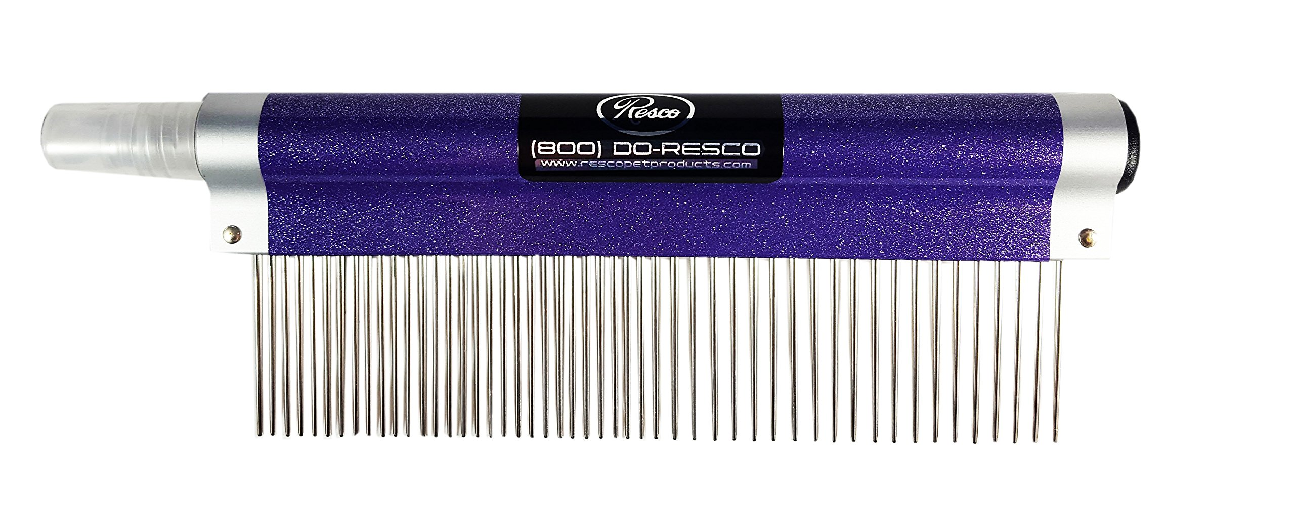 Resco USA-MADE Spritzer Comb for Pets, 1.5'' Combination, Sparkle Purple, Includes Detangler and Finishing Spray