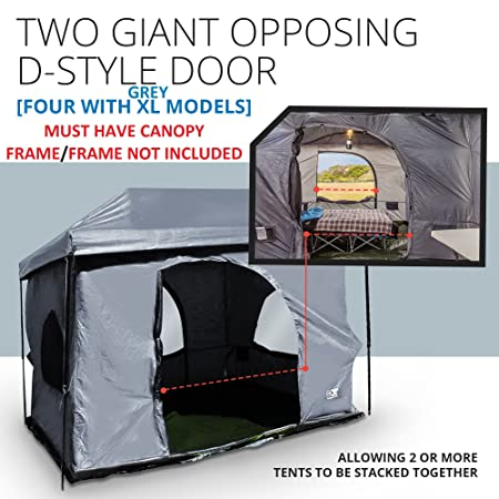 The Original-Authentic Standing Room 12X12 Family Cabin Tent 8.5 of Head Room 4 Big Screen Doors Fast Easy Set Up,Full TUB Style Floor Canopy Frame NOT Included