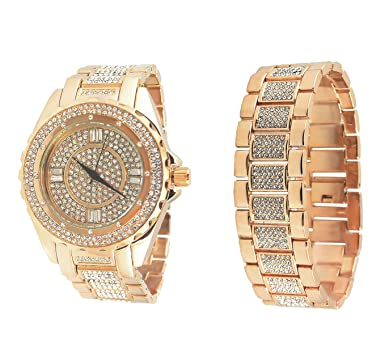 Amazon.com  Mens Rose Gold Tone Bling Master Iced Out BM Analog Lab ... 6756925ad