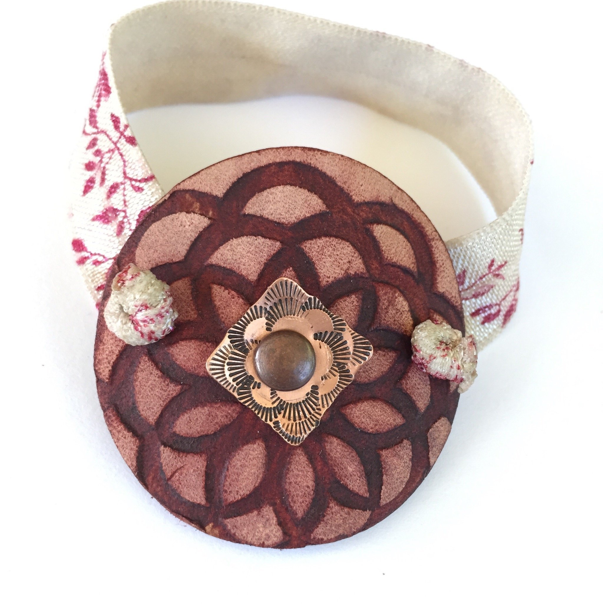 Boho Leather Ponytail Holder Round with Stamped Copper and Flat Elastic by BANDANA GIRL Ponytail Wrap Hair Accessory, Gift For Her, Hair Band, Gift Idea for Her for Women with Long Hair