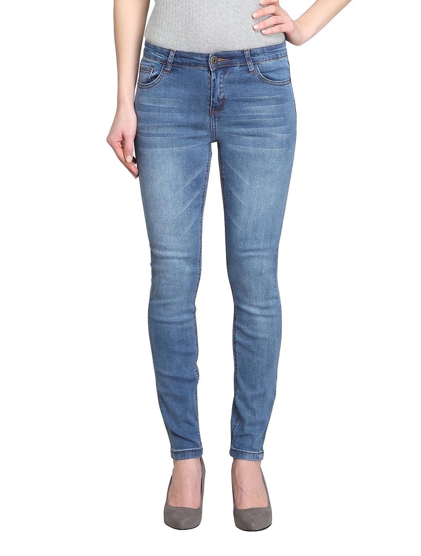 Women's Plain bluee MidRise Skinny Ankle Jeans (ThymAK)