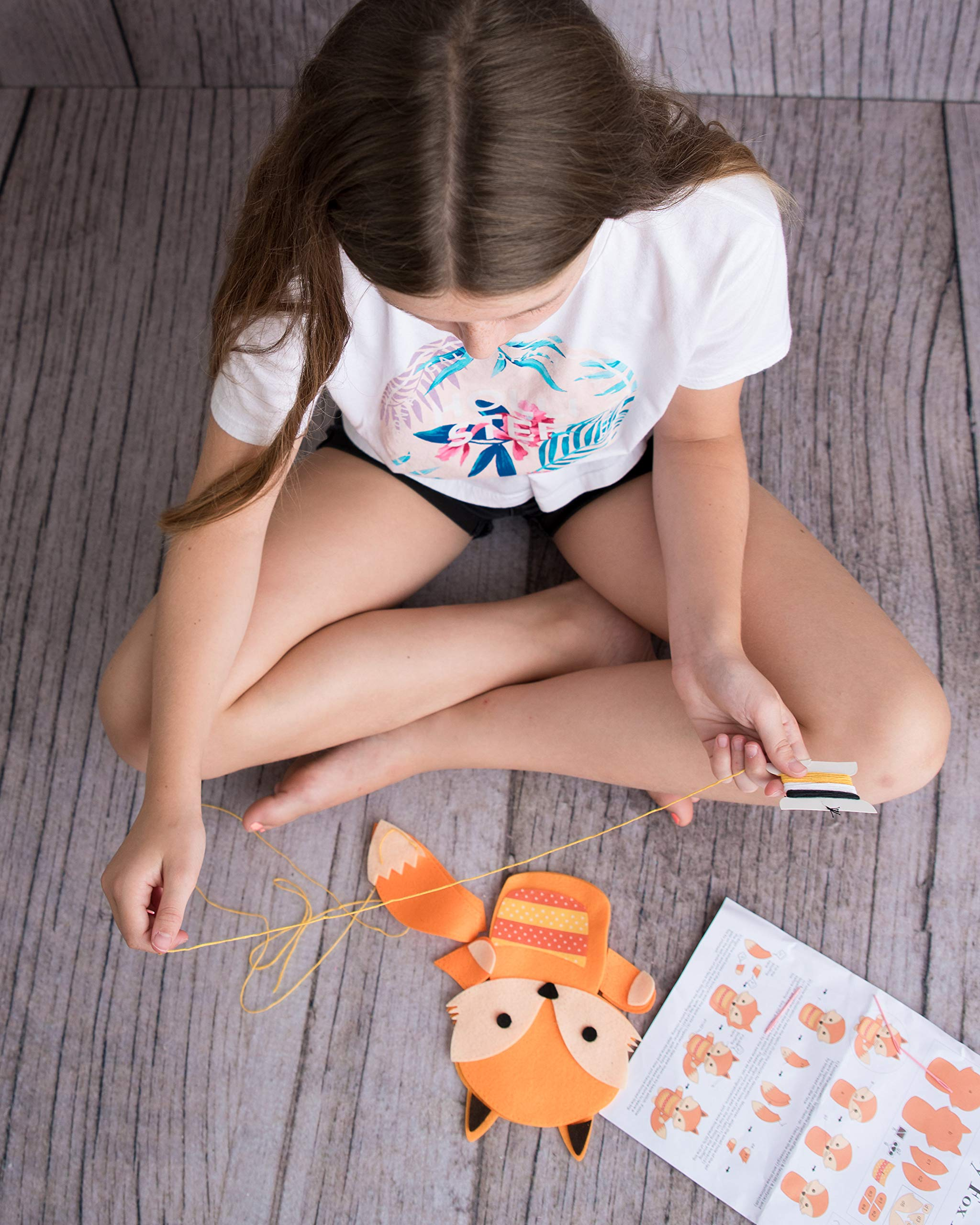 Kids Sewing Crafts Kits For Girls : Beginners Arts And Craft Kit Plush Fox Animal Mini Sew And Stuff Toy Learn Enjoy Have Fun With Endless Play - Create Memories That Last With This Fox Family