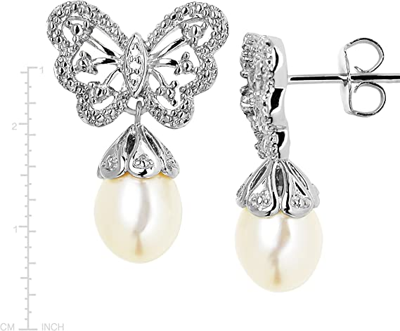 Butterfly design cubic zirconia drop freshwater pearl wedding bridal earrings and necklace set silver colour platinum plated