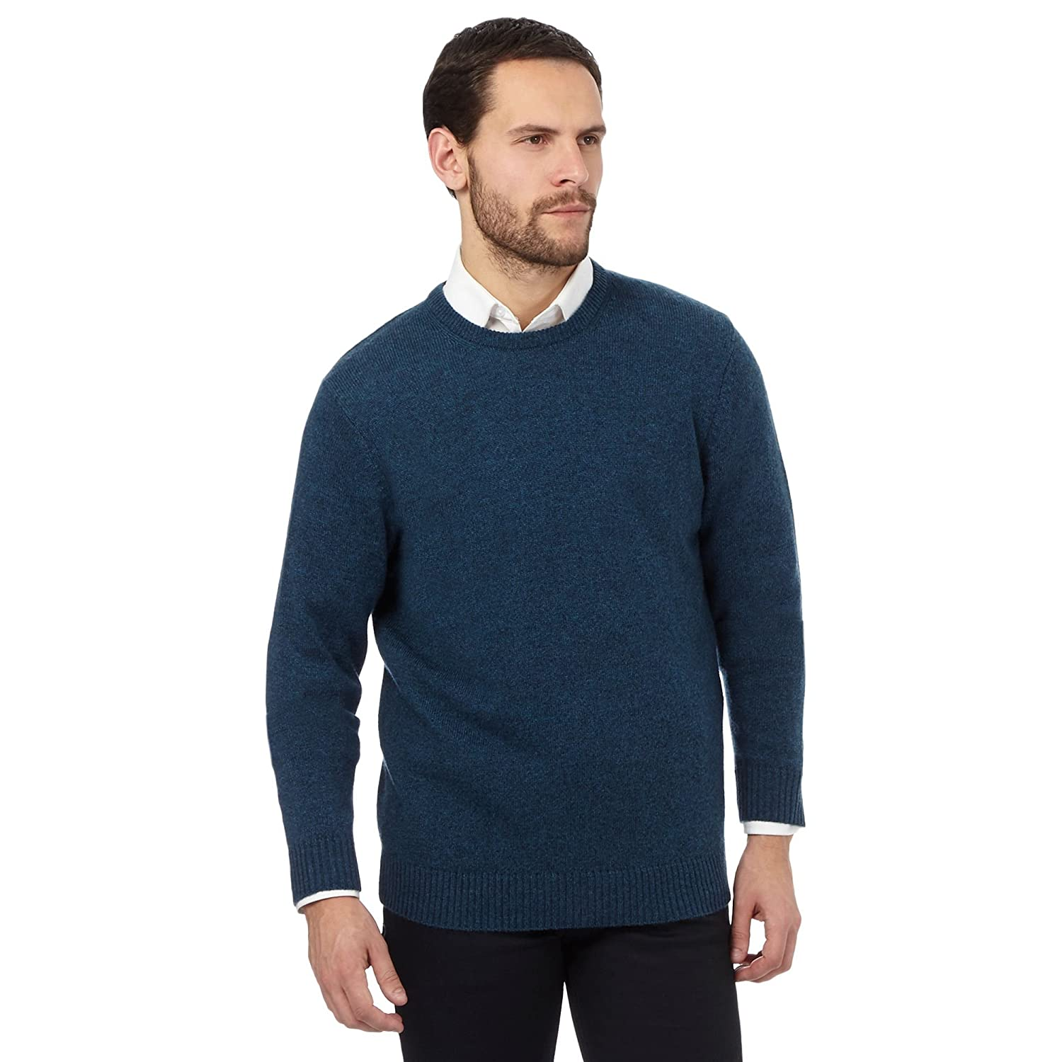The Collection Mens Turquoise Ribbed Trim Lambswool Blend Jumper