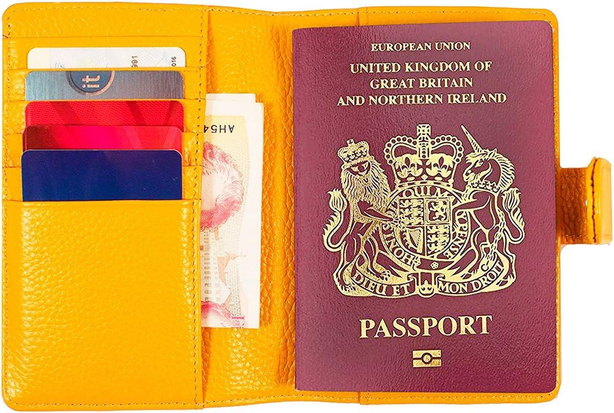Piero Lorenzo - Cartera para pasaporte amarillo amarillo: Amazon.es: Equipaje