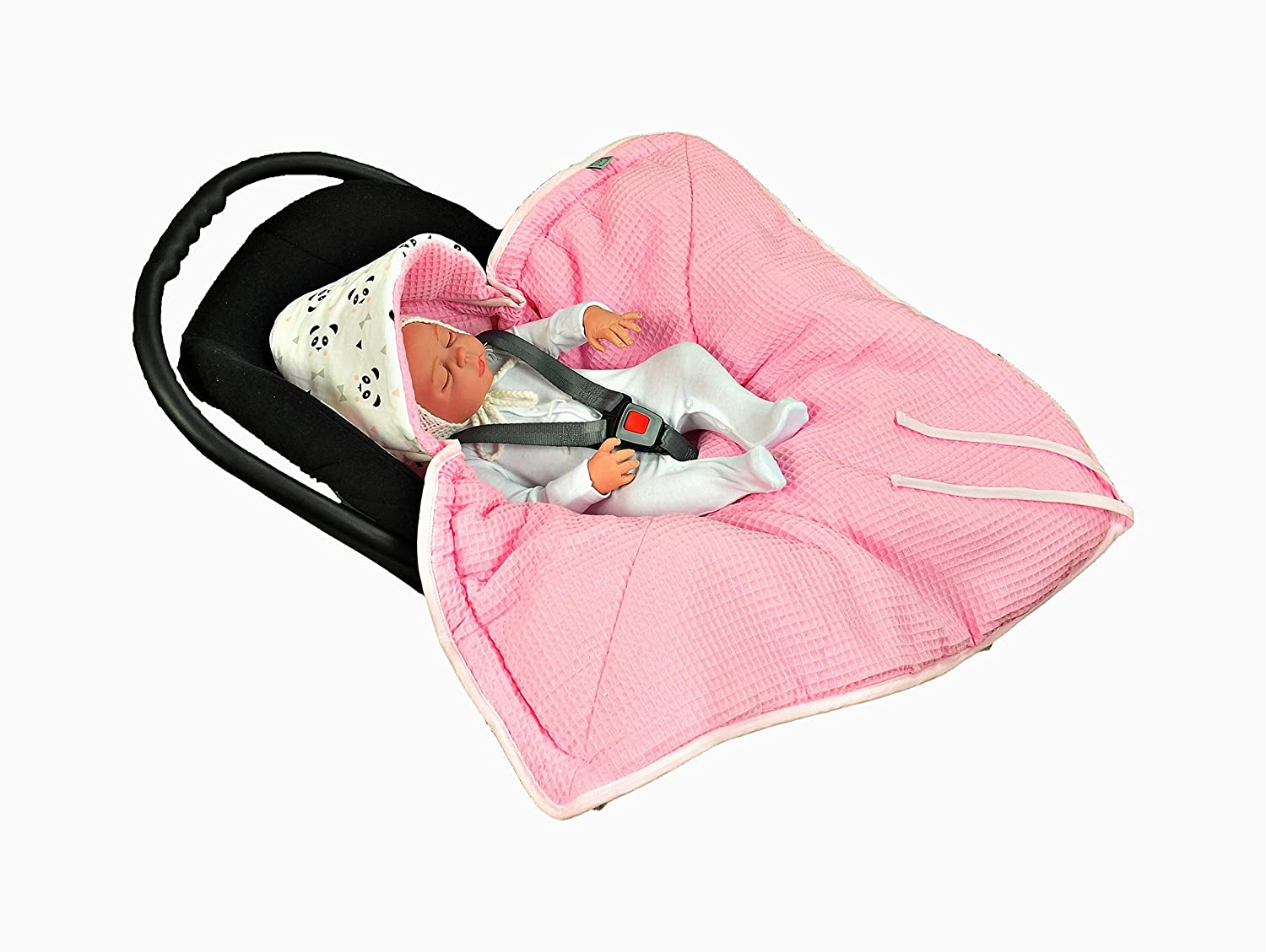 MoMika NEW Swaddling Blanket | Universal Fit for Car Seat | Stroller | Buggy or Baby Bed | Made of Waffle | 100% Cotton | Colour: Rose