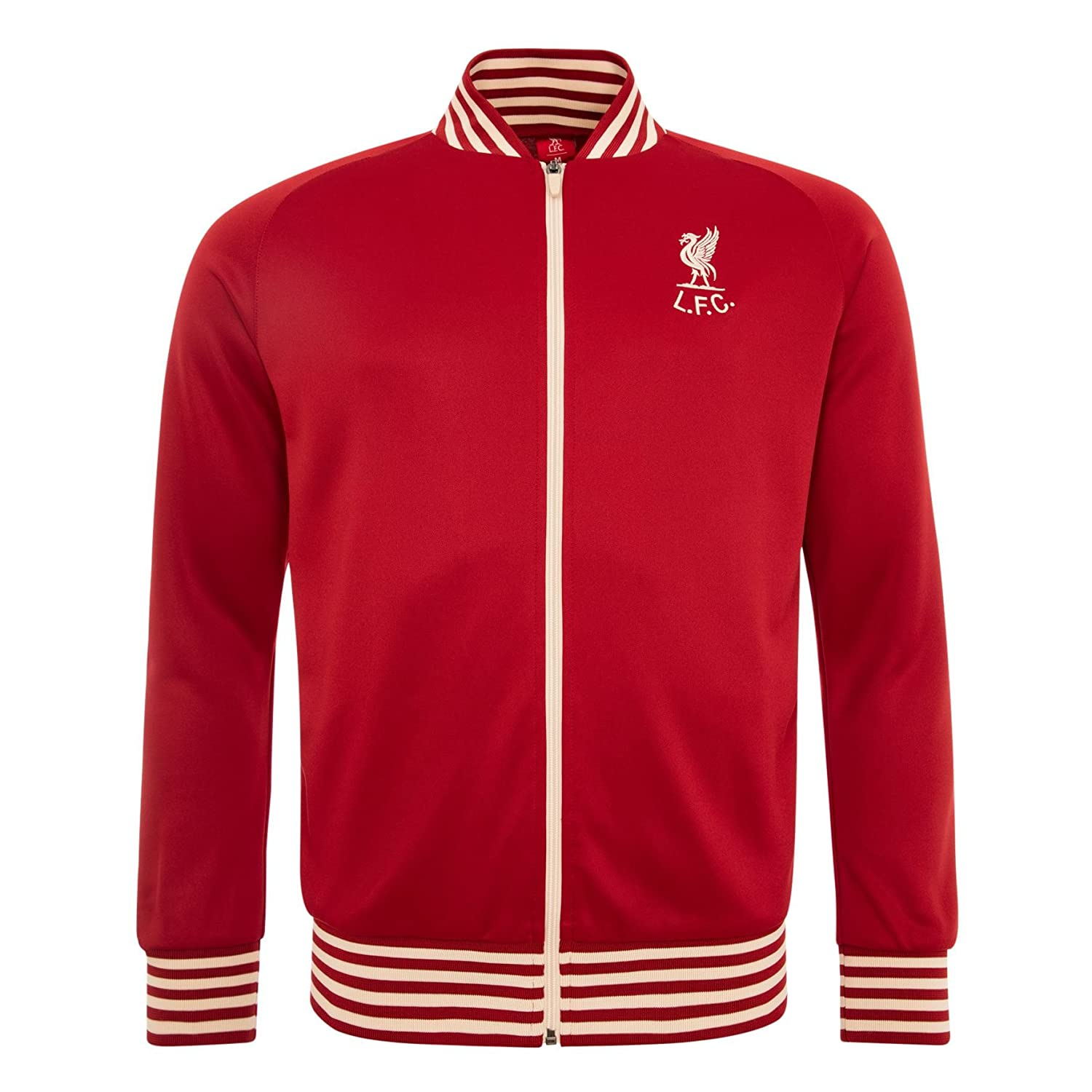 Liverpool FC Polyester Red Mens Long Sleeve Two Open Pockets Full Zip to The Front Shankly Track Jacket Available Sizes S,M,L,XL from LFC Official Store