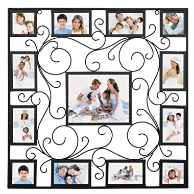 WOLTU Antique Metal Puzzle Collage Picture Frame Decorative Wall Hanging Photo Frame,13 Openings,4x6 with Plexiglass protection,Black, PF39blkS13
