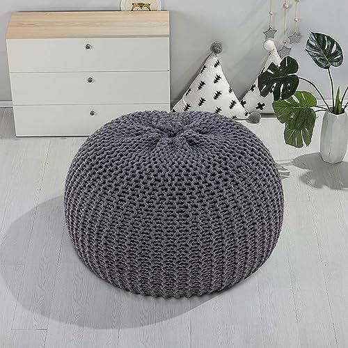 VINGLI Modern Round Hand Knit Pouf