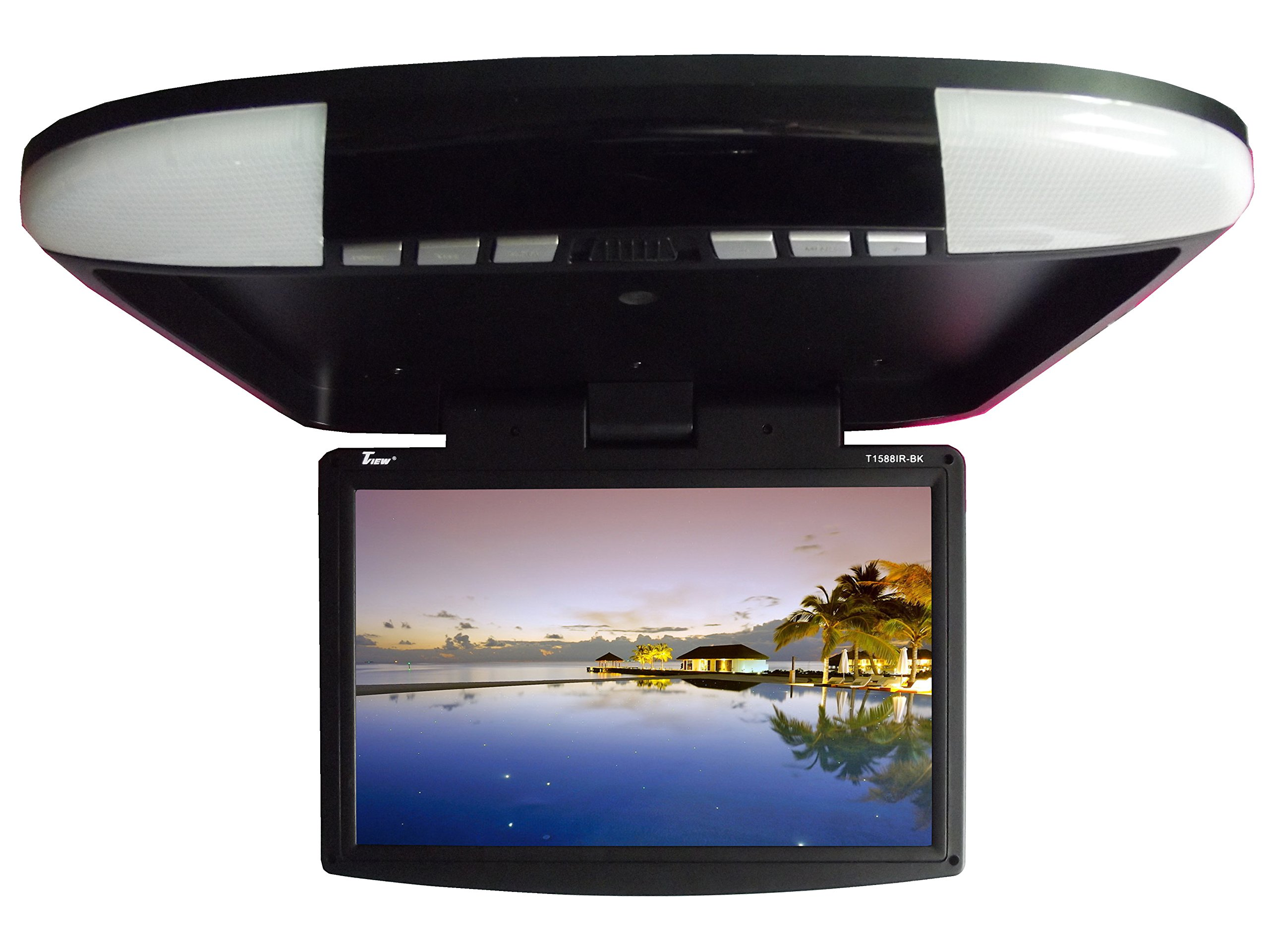 Tview T1588IR-BK Car Flip Down Monitor-Set of (Black) by T-View (Image #1)