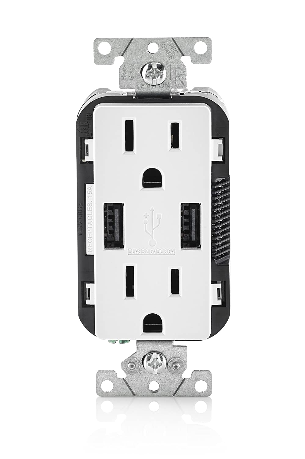 Leviton T5632 W 15 Amp Usb Charger Tamper Resistant Duplex Single Plex Receptacle Wiring Diagram White
