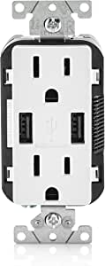 Leviton T5632-W 15-Amp Charger/Tamper Resistant Duplex Receptacle, 1-Pack, White