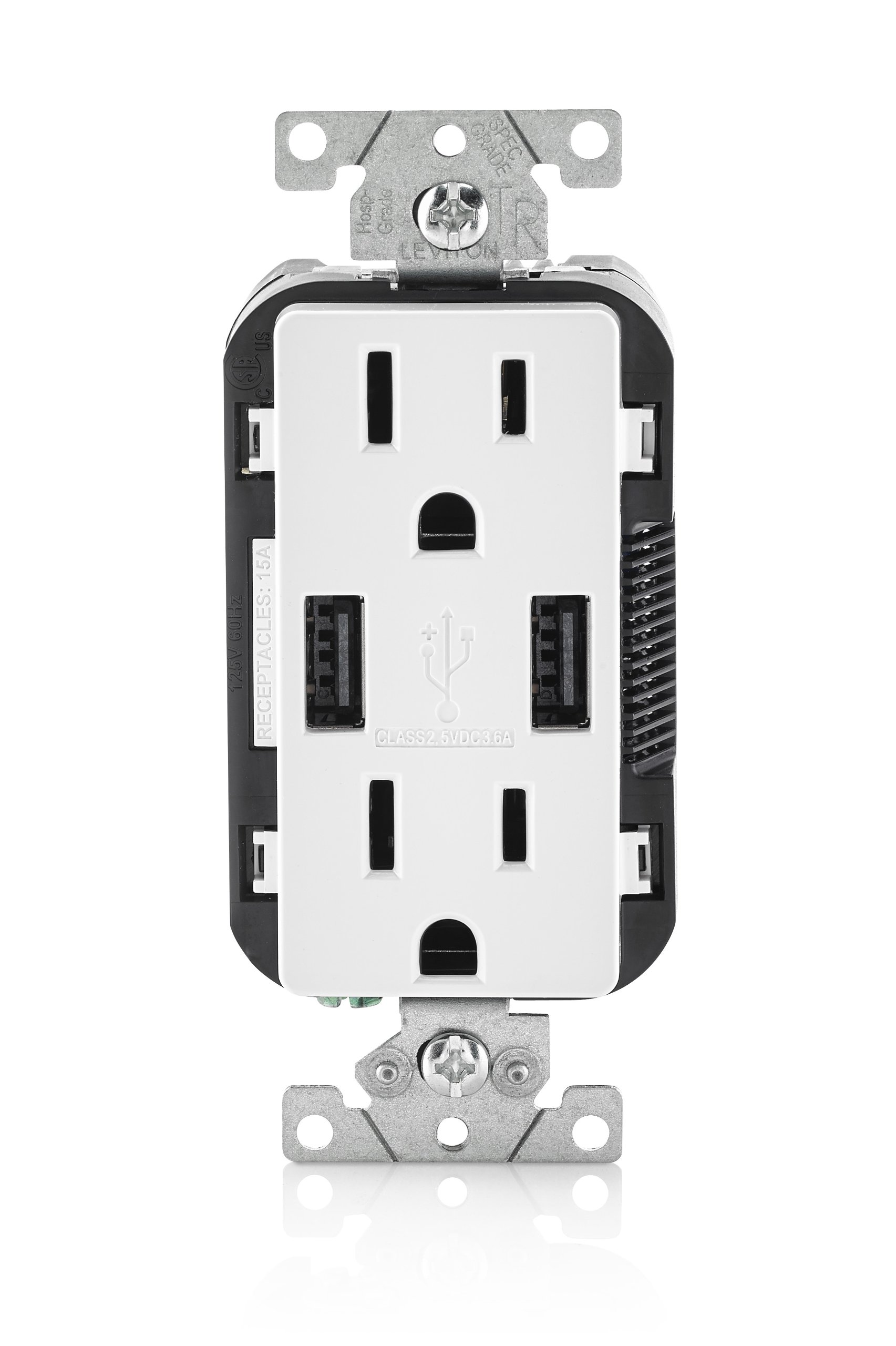 Leviton T5632-W 15-Amp USB Charger/Tamper Resistant Duplex Receptacle, White