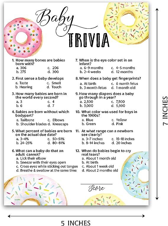 Amazon Com Donut Baby Shower Game Juegos De Bebe Trivia Pack De 25 Divertidos Juegos De Hechos De Bebe Duchas De Bebe Trivia Girl O Boy Baby Shower Activity Genero