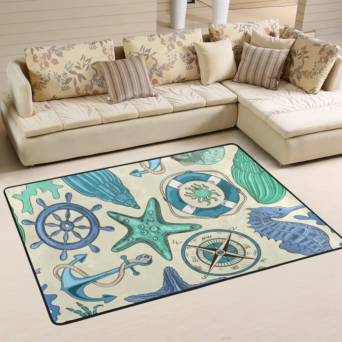LORVIES Sea Animals and Nautical Elements Area Rug Carpet Non-Slip Floor Mat Doormats for Living Room Bedroom 72 x 48 inches