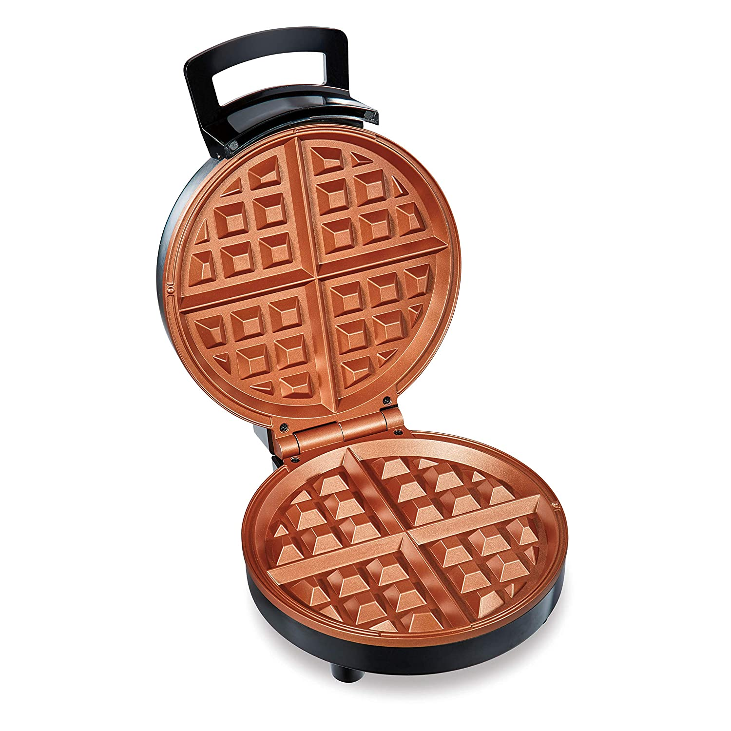Hamilton Beach Belgian Waffle Maker with Non-Stick Copper Ceramic Plates, Browning Control, Indicator Lights, Stainless Steel 26081