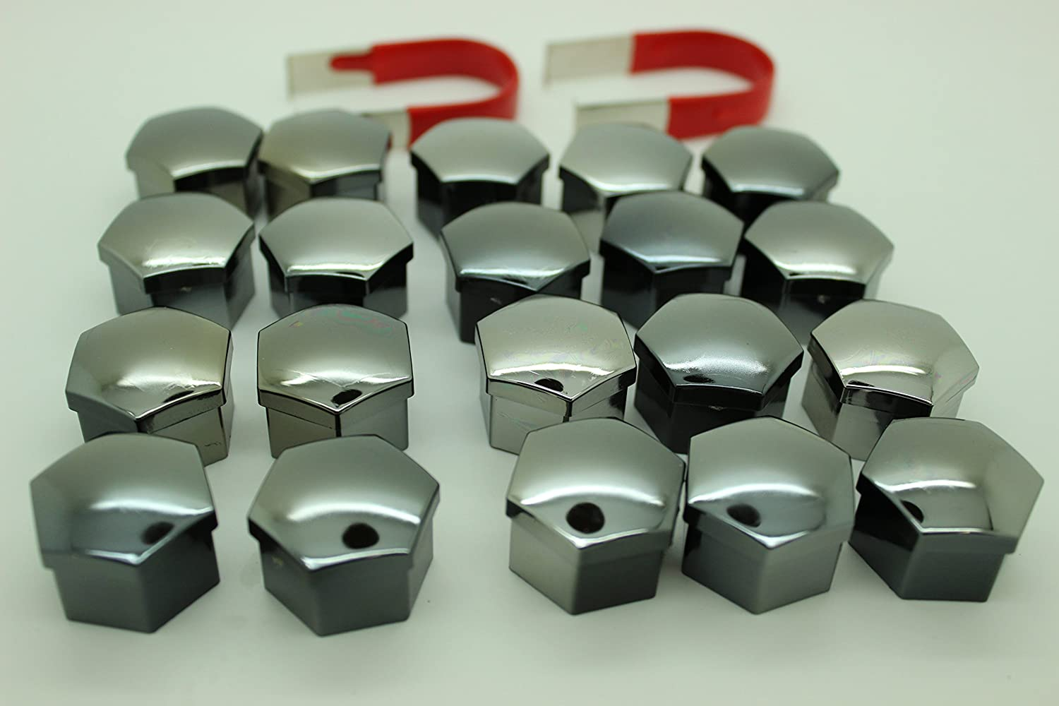 20x Universal Wheel Nut Covers Hex in Various colours comes with Removal Tools (SMOKED CHROME 17mm)