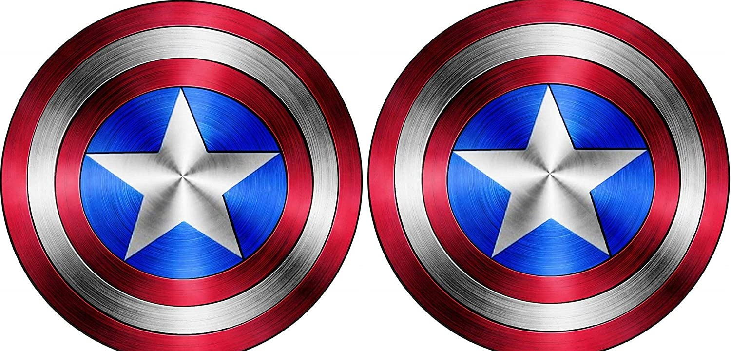 Delzam Captain America Shield Vinyl Sticker Decal (Value Pack of 2) for Laptop, MacBook, I Pad, Car Windows, Motorcycle, Walls, Mirror or Any Other Smooth Surface