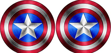 Mirror or Any Other Smooth Surface MacBook Delzam Captain America Shield Vinyl Sticker Decal Value Pack of 2 for Laptop I Pad Walls Motorcycle Car Windows