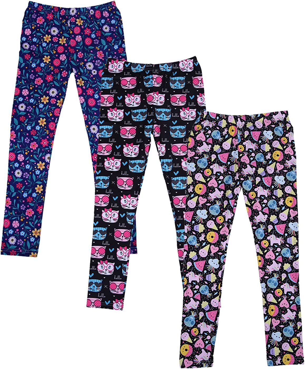 HDE Girls Leggings 3 Pack with Print Designs Full Ankle Length Kids Pants 3-11Y