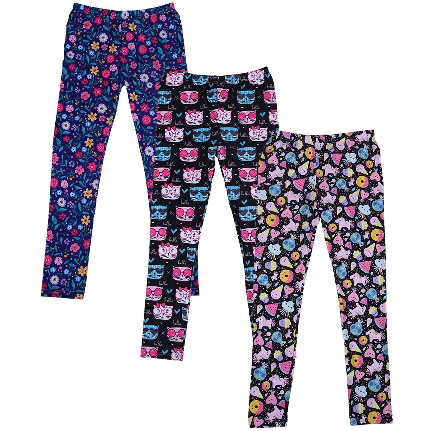 HDE Girl's Leggings 3 Pack With Print Designs Full Ankle Length Kids Pants 3-11Y