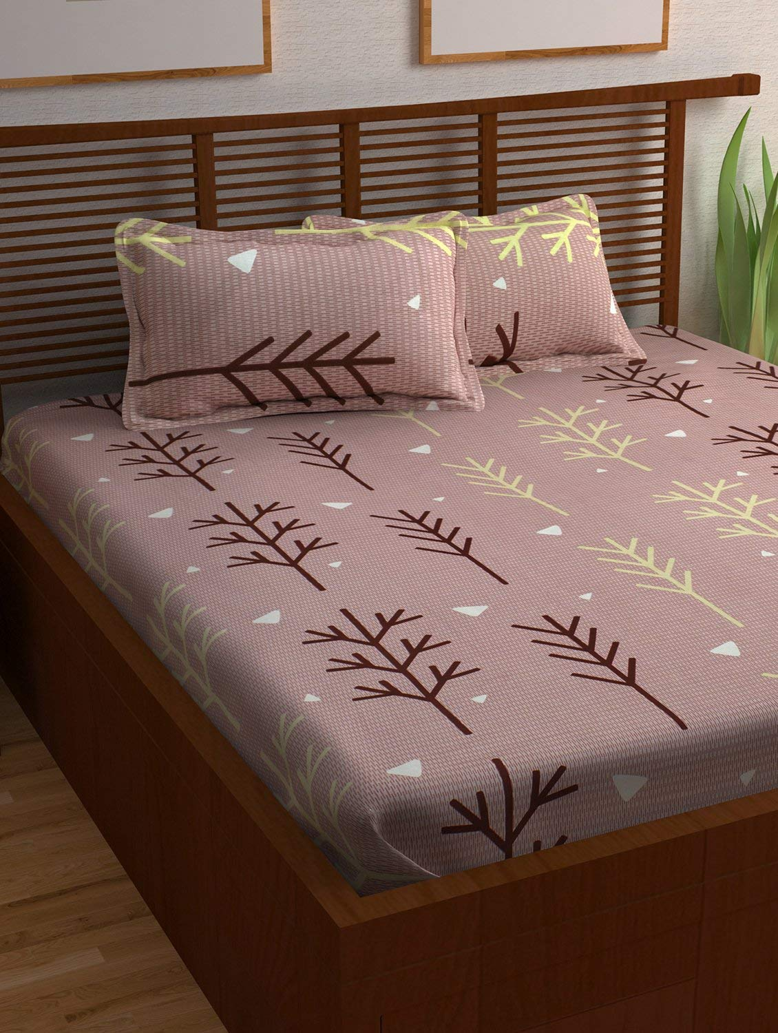Story@Home Prism 120 TC Cotton Double Bedsheet with 2 Pillow