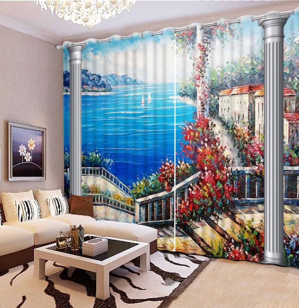 Sproud 3D Printing Curtains Lifelike Room Decorations Blackout Cortians Beautiful Full Light Shading Curtains 260Dropx200Wide(Cm) 2 pieces