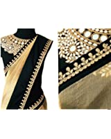 OrangeSell new latest designer cream and black best quality sarees best designer fancy bollywood party wear wedding saree at best price premium quality sari