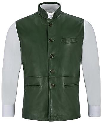 Col En Hommes Pour Ethnique Gilet Green Cuir Indian Mandarin Veste 7YwFxB1q