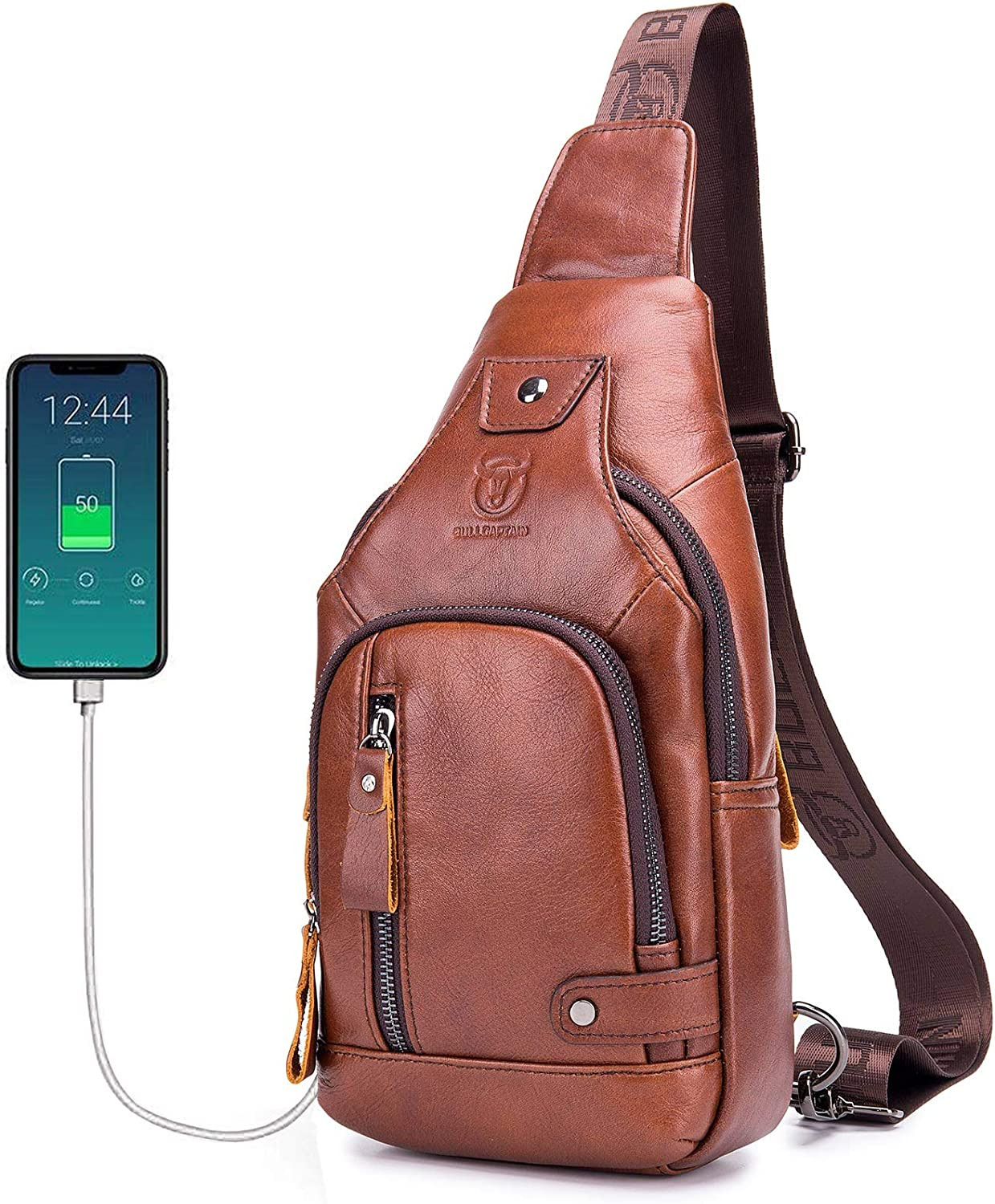 Mens Genuine Leather Sling Bag,Casual Crossbody Shoulder Backpack Travel Hiking Vintage Chest Bag Daypacks for Men with Charging Port