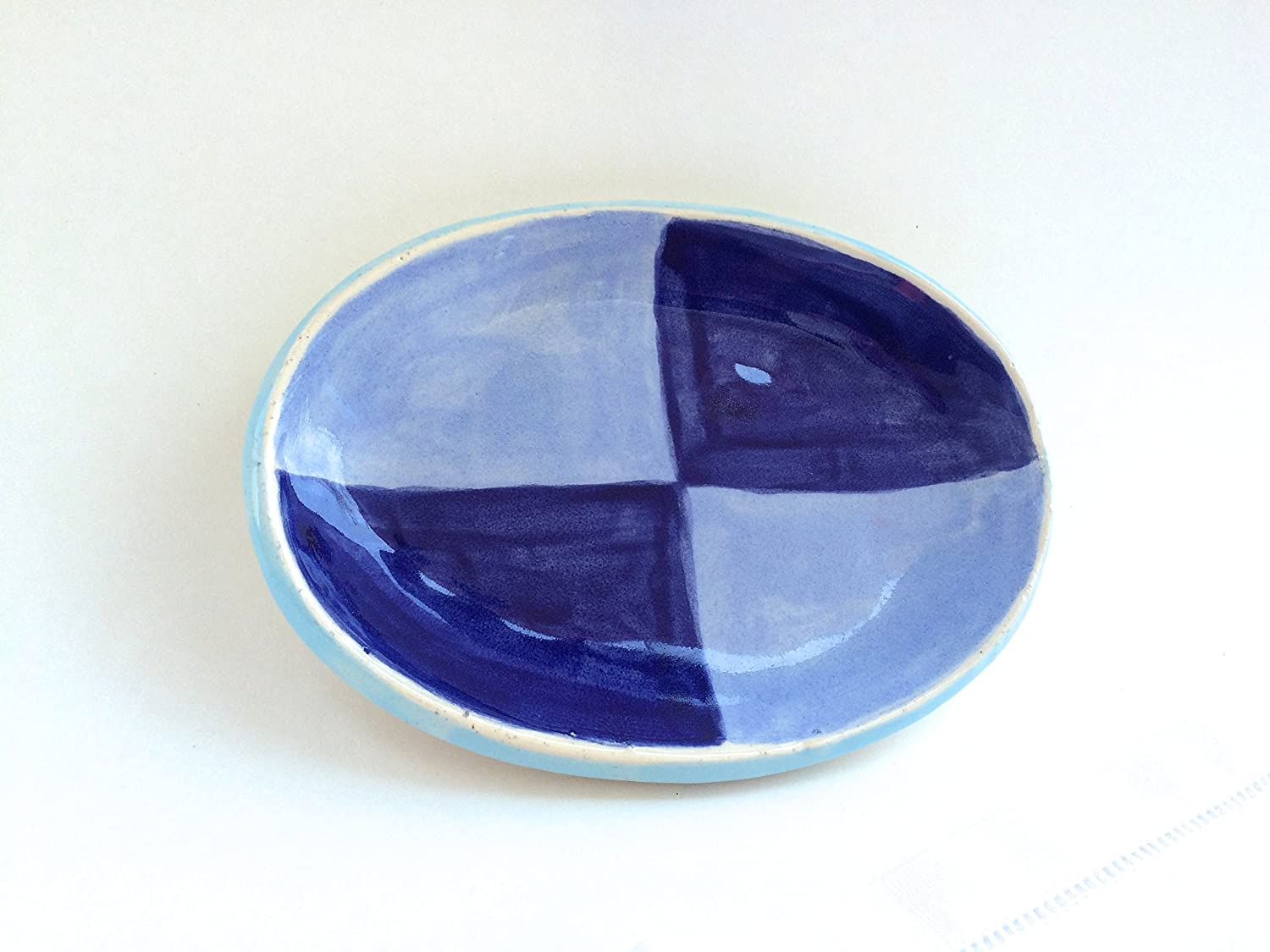 Handmade Pottery Plate Spoon Rest Handmade Serving Soap Dish Small Oval Dish
