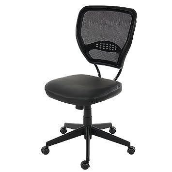 design intemporel 28b36 29ea9 Mendler Fauteuil/Chaise de Bureau Seattle, Charge 150kg, Similicuir ~ Noir,  sans accoudoirs