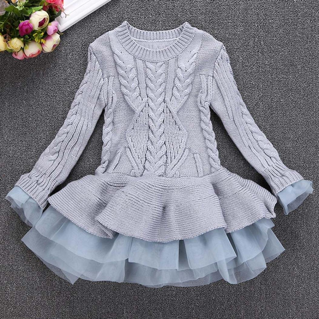 b19655f8d KaloryWee Knitted Dress For Girls, Kids Girls Pullovers Crochet Sweater  Tutu Knitted Dress: Amazon.co.uk: Clothing