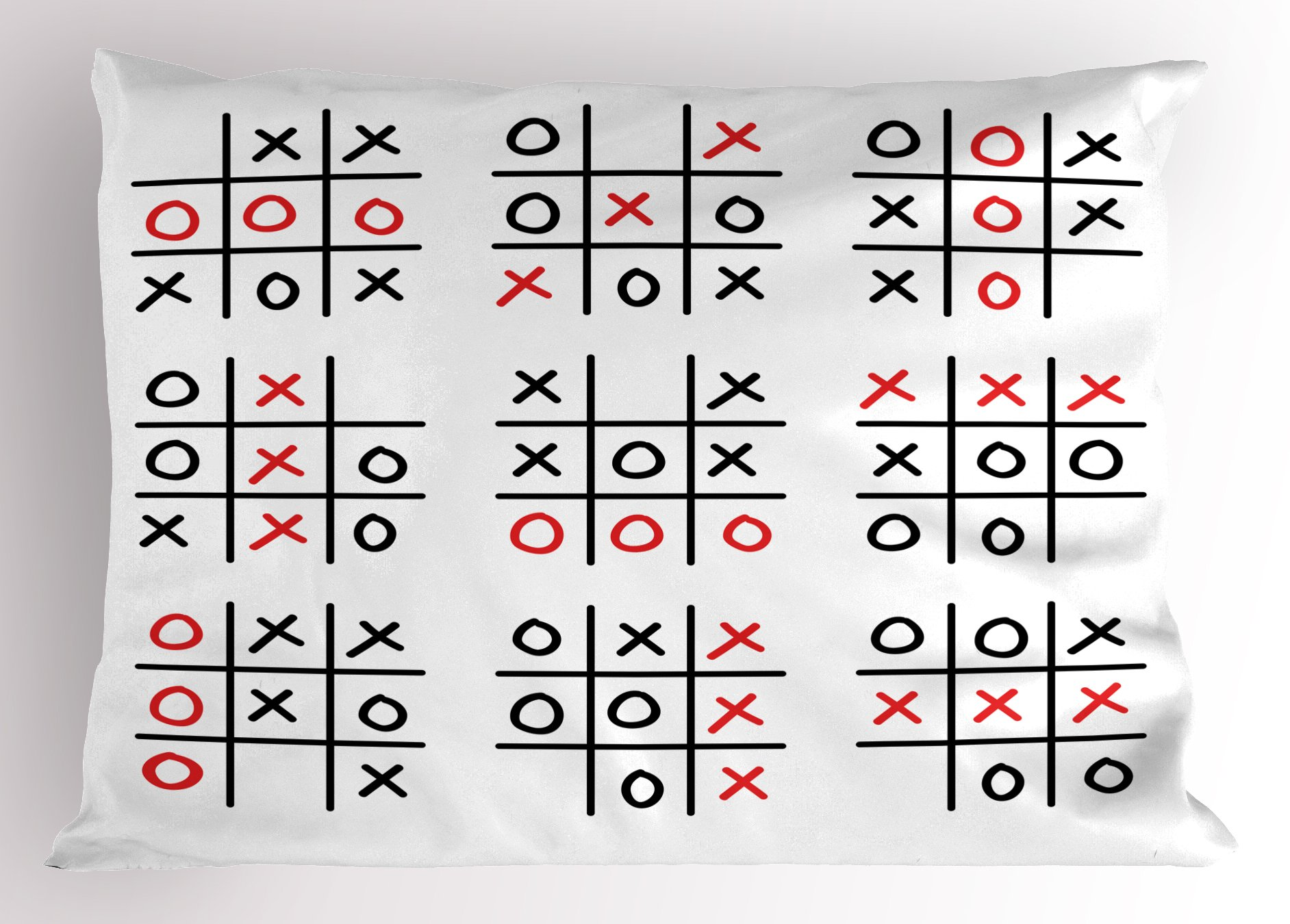 Ambesonne Xo Decor Pillow Sham, Doodle Style Tic Tac Toe Game Set Table with X and O Letters Artsy Design, Decorative Standard King Size Printed Pillowcase, 36 X 20 inches, Black White Red