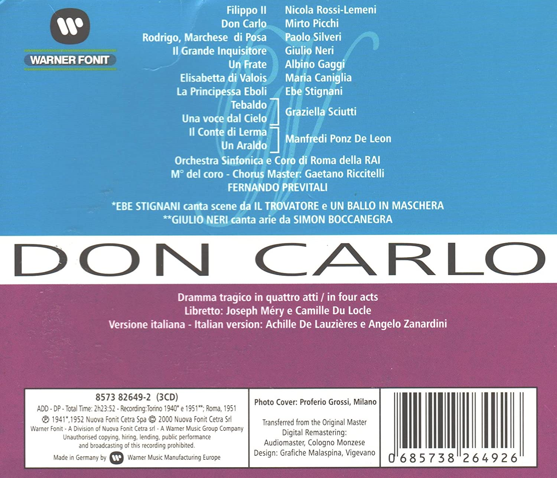 Don Carlo - Verdi, Lemeni, Picchi, Previtali: Amazon.de: Musik