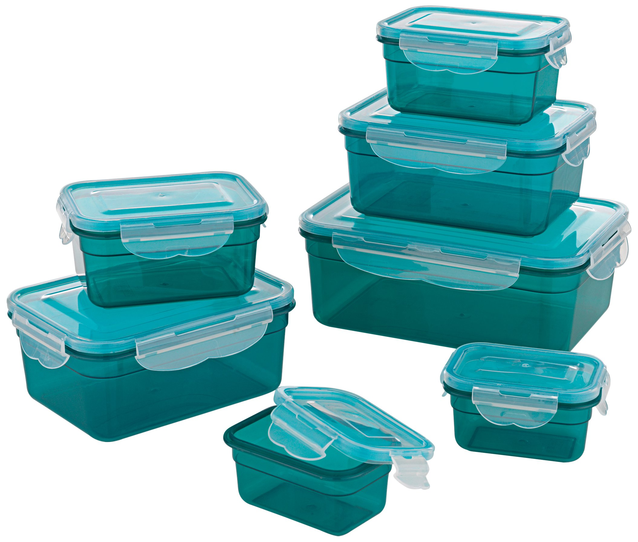 GOURMETmaxx 02914 BPA-Free Food Storage Container-Set, 14 Pieces | Suitable for Dishwasher, Freezer, Microwave | Clip Lid Food Container | Air tight, liquid proofed and Aroma Safe