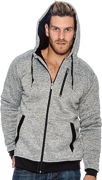 9 Crowns Essentials Mens Full Zip Sherpa Lined Fleece Hoodie Jacket