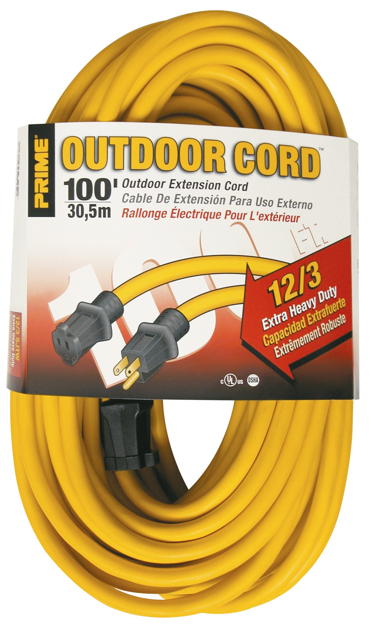 Prime Wire & Cable EC500835 100-Foot 12/3 SJTW Jobsite Outdoor Extension Cord, Yellow