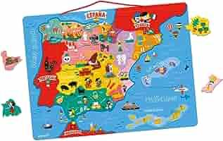 Janod- Mapa Magnético de España 50 Piezas, Multicolor, única ...