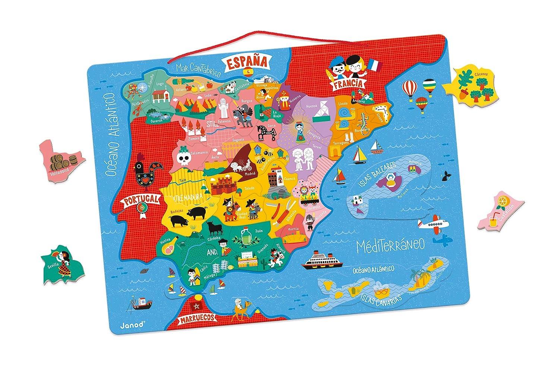 Janod- Mapa magnético de España 50 Piezas (Madera), Multicolor (Juratoys J05478)