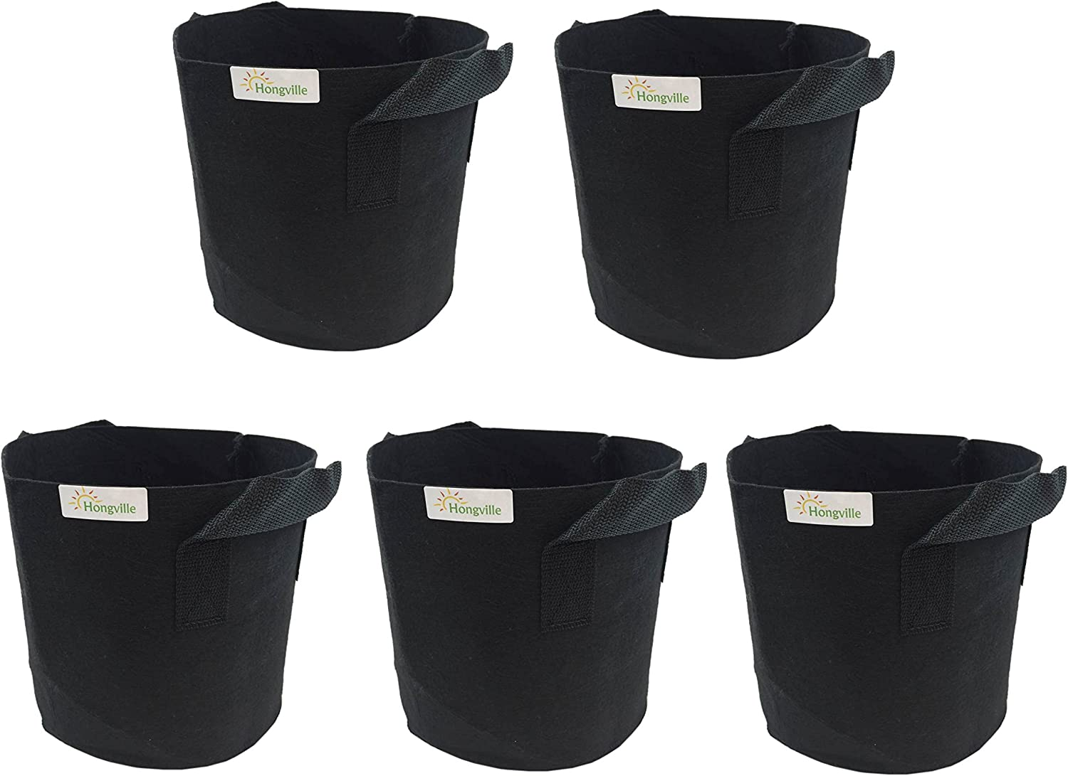 HONGVILLE 5-Pack Grow Bag Fabric Pots with Handles-Container Gardening Planter Pot for Tomatoes, Fruit, Vegetables, Flowers and Plants (5-Gallons w/Handles)