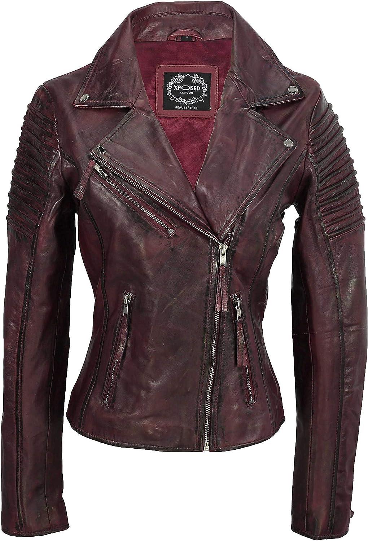 Xposed - Chaqueta motera ajustada para mujer, estilo vintage, de cuero auténtico suave, tallas XS a 6XL
