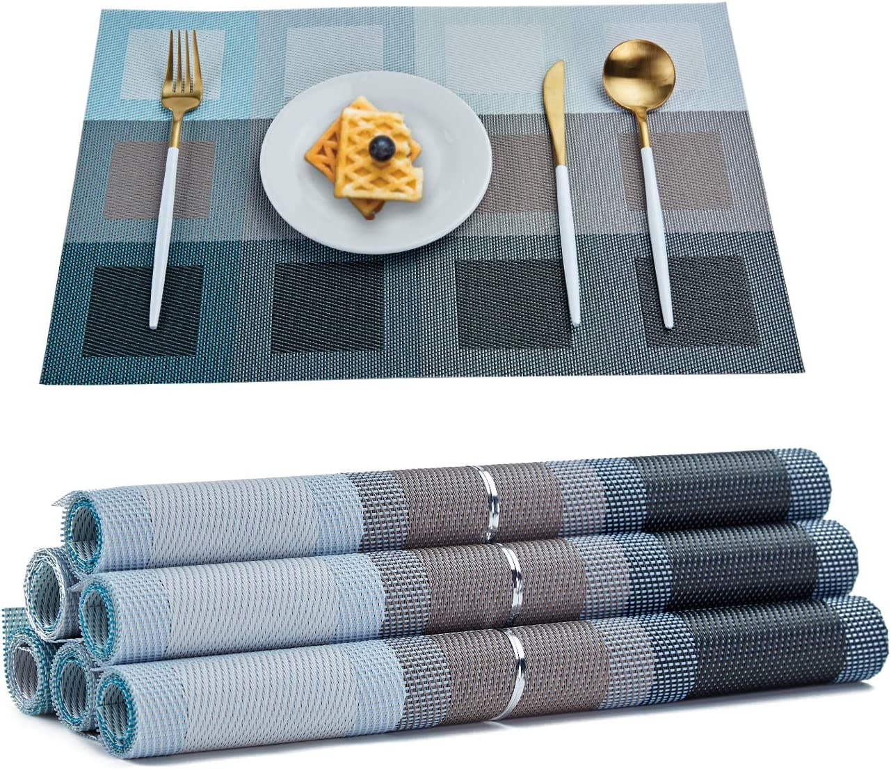 famibay Bamboo PVC Weave Placemats Non-Slip Kitchen Table Mats Set of 4-30x45 cm