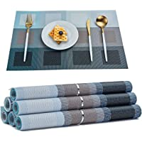 TOP BEAUTY Placemats Set of 6 Woven Vinyl Table Mats PVC Heat Insulation Stain Resistant Non Slip Kitchen Dining Table…