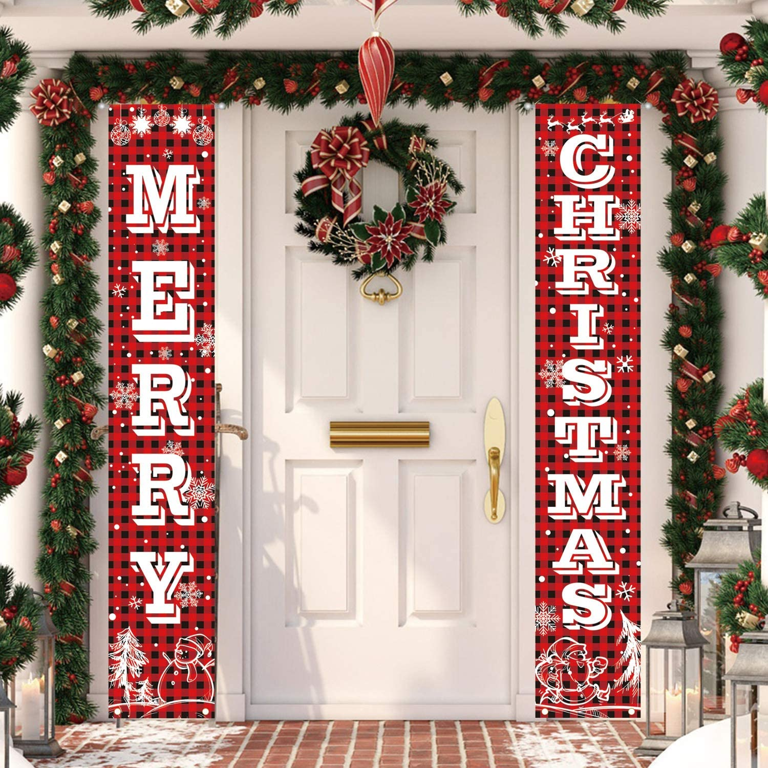 MAIAGO Christmas Decorations - Merry Christmas Hanging Banners - Red Buffalo Check Plaid Christmas Porch Signs - Xmas Decor Banners for Indoor & Outdoor, Home, Wall, Front, Door, Apartment Party