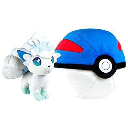Amazon Com Pokemon Zipper Poke Ball Plush Great Ball And Alolan